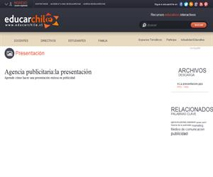 Agencia publicitaria:la presentación (Educarchile)