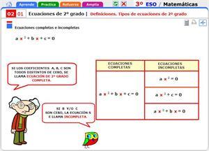 Definiciones y tipos de ecuaciones de segundo grado. Matemáticas para 3º de Secundaria