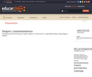 Sinapsis y neurotransmisores (Educarchile)