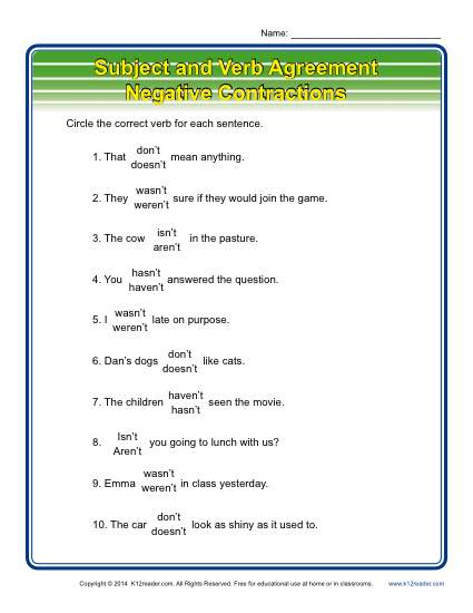 Subject Verb Agreement: Negative Contractions