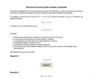 Ecuaciones de primer grado resueltas y explicadas