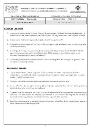 Examen de Selectividad: Análisis musical. Comunidad Valenciana. Convocatoria Julio 2013