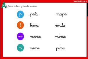 Juega y trabaja las letras: p, l, m y n