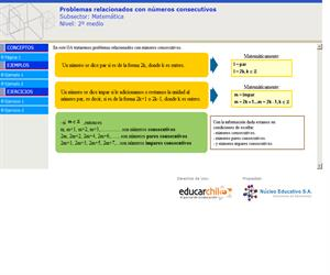 Problemas relacionados con números consecutivos (Educarchile)
