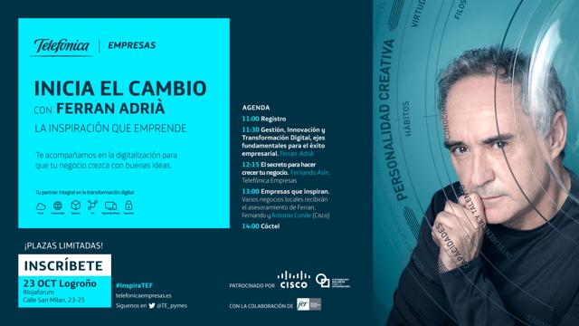 Ferran Adrià intervendrá en una jornada de Innovación y Transformación Digital para pymes riojanas el próximo miércoles