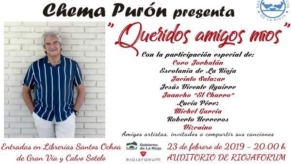 """Chema Purón y sus 'Queridos amigos míos' ofrecerán el día 23 un """"concierto único"""" a beneficio del Banco de Alimentos"""