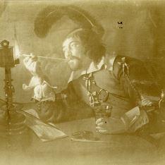 Mosquetero fumando en pipa