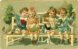 Niños en un banco