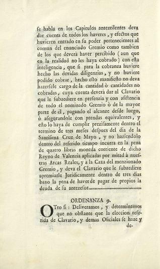 Ordenanzas y reglamentos - 1754, enero, 24 post. Valencia