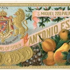 Etiqueta comercial. Melocotones al jugo. Antonio Esteva. Palma
