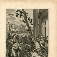 Melquisedec recibiendo el diezmo de Abraham