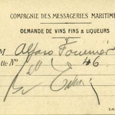 """Tarjeta de pedido de vinos finos y licores. """"Compagnie des Messageries Maritimes"""". Francia"""