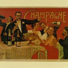 Cartel publicitario de Champagne Georges Foret
