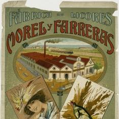 Cartel publicitario de Morel y Farreras - Fábrica de licores