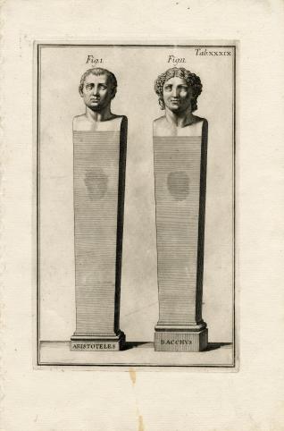 Bustos de Aristóteles y Baco