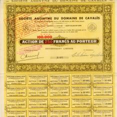 Acciones de la Sociedad Anónima de Dominios de Caballerías. Decoraciones vitivinícolas. 1966