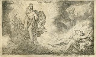 Júpiter coge a Baco recién nacido en sus manos alejándolo de los celos de Juno