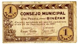Billete de una peseta