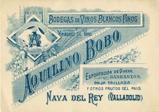 Tarjeta comercial. Bodegas Aquilino Bobo. Nava del Rey. Valladolid