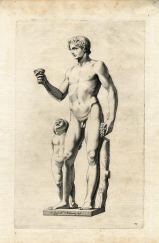 Estatua de Baco con niño