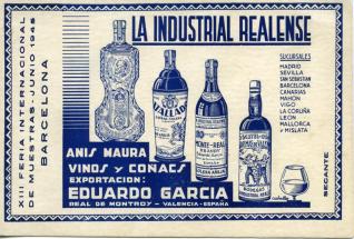 """Tarjeta comercial de bebidas """"La industria realense"""", Exportación Eduardo García (Valencia). [ca. 1945]"""