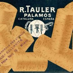 Tarjeta comercial de la fábrica de corcho R. Tauler Palamós. Cataluña