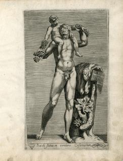 Estatua de fauno con Baco niño
