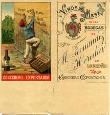 Lista de precios de los vinos de mesa de las Bodegas M. Fernández Heredia en Logroño, La Rioja. [ca. 1899]