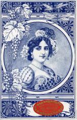 Etiqueta de caja de uvas pasas moscateles de Málaga. Mujer tocada con peineta