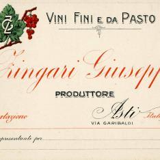 Tarjeta de representación. Zingari Giuseppe. Italia