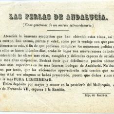 """Folleto publicitario """"Las perlas de Andalucía"""", de vinos generosos andaluces. [ca.1900]"""