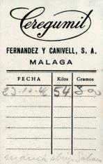 Tarjeta comercial. Ceregumil. Laboratorios Fernández Canivell, S.A. Málaga