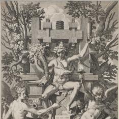 Baco sentado en la barrica con Cupido y la musa de la música