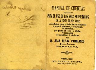 Manual de cuentas para su uso en la venta de vinos para medidas en botas, decálitros y cántaros de vino. 1889