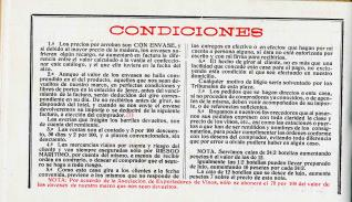 Listado de precios. Bodega José de Soto. Jerez de la Frontera