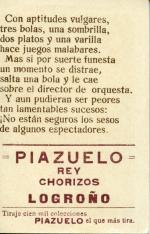 """Colección de doce cromos con publicidad de """"Piazuelo"""". """"Compañía de Varietés"""""""