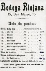 Listado de vinos. Bodega Riojana