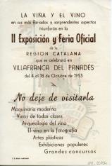 Folleto publicitario de la II Exposición y Feria Oficial de la Viña y del Vino. 4 al 8 de octubre de 1953