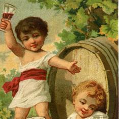 Cromo. Niños beben vino