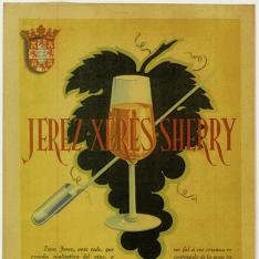 Cartel publicitario de vino de Jerez