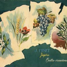 """Folleto publicitario. """"Cuatro creaciones"""". J. Fuset Joyero. Barcelona. 1956"""