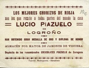 "Cromo publicitario. ""Lucio Piazuelo"" (Logroño)"