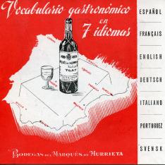 Vocabulario gastronómico en 7 idiomas. Bodegas Marqués de Murrieta. [ca. 1946]