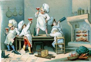 Cromo. Infantes beodos en la cocina
