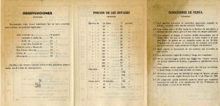 """Listado de precios. Fábrica de anisados y licores """"Hijo de Vicente Vila"""". Valencia. 1928"""
