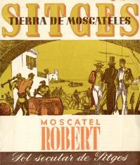Folleto publicitario de vino moscatel Robert. Sitges