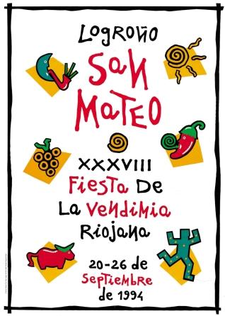 Cartel anunciador de la XXXVIII Fiesta de la Vendimia Riojana (Logroño)