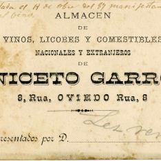 Tarjeta de representación. Almacén de vinos Niceto Garro. Oviedo