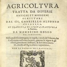 Agricoltura Tratta da diversi antichi et moderni scrittori