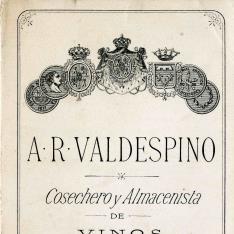 Listado de precios. Bodega A. R. Valdespino. Jerez de la Frontera